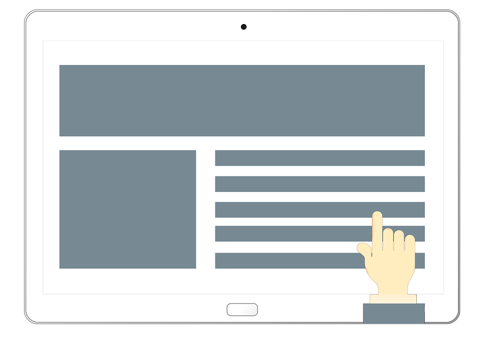 Illustrated hand pointing to website